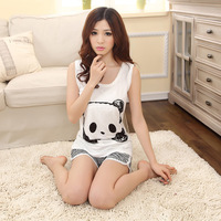 2013 summer cartoon vest set solid color lovely sleepwear Women casual lounge