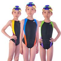 Ying fat 2013 child swimwear female child girl one piece swimwear triangle professional swimming cap
