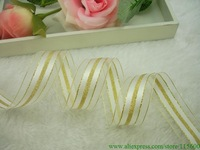 Free Shipping 25mm Width Satin Ribbon White, Golden Sheer Ribbon ,DIY,Gift Wrapping