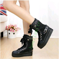 Free Shipping2013Fashion boots Sponge cake Women's rivets lace-up high elevator top platform Sneakers canvas Cool casual   shoes