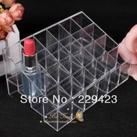 Free shipping!acrylic makeup organizer 24 lipstick storage rack makeup rack lip gloss lipstick mascara jewelry box display rack