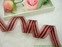 Free Shipping 25mm  Wide Wined Red Satin Ribbon, Gold Edge Sheer Ribbon ,DIY,Gift Wrapping