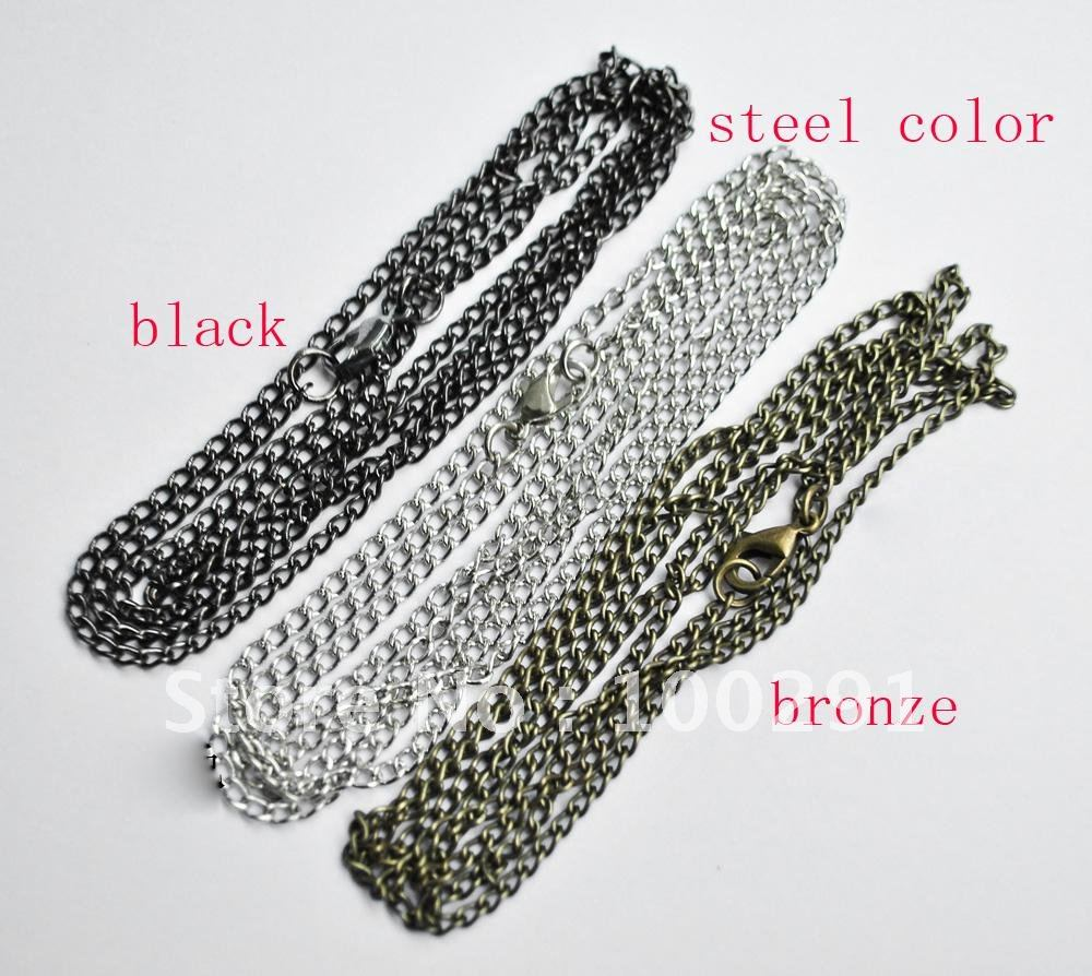 Free ship!!! 100pcs/lot 80cm bronze silver black three color you can select chain for pendant necklace chain necklace(China (Mainland))