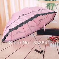 Free shipping high quality folding princess lace decoration sun umbrella anti-uv sun protection umbrella