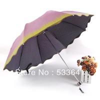 Free shipping fashion sunscreen arched folding umbrellas anti-uv sun umbrella princess umbrella color plastic flouce ruffle