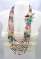 """Multi Color Crystal Glass Beads Flower 7 Strands Layered Statement Necklace 30""""L"""