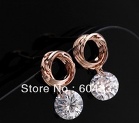 New ARRIVAL  6 pairs Gold Color  Drop Crystal Zircon  Earrings Zirconia Circle  Stud  Earrings Bridal Jewelry