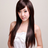 In stock Wig repair fluffy fashion elegant high temperature silk girls wig long straight hair oblique bangs  free shipping