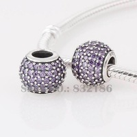 New 925 Sterling Silver Charm Beads Ball with Light purple Rhinestone Crystal, Compatible With Pandora Style Bracelet LW170F