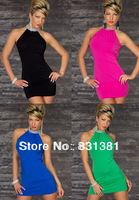2013 NEW Womens Charming Party Short Green Dress Club Wear Sexy Lingerie Free Shipping
