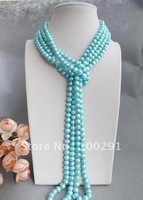 Can have a variety of wear way weak cyan color pearl necklace, is really beautiful 6mm-7mm/8mm-9mm