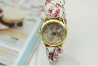 10pcs/lot Fashion fabric band watch students watch female models simple personality Ladies Floral Personalized Watches