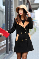 woolen blend camel black long sleeve plus size double breasted casual coat women outerwear new fashion 2013 autumn winter