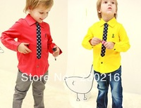 2013 boy girls Fashion red and yellow( long-sleeve t shirt ),children Brands shirt clothing,5pcs/lot.