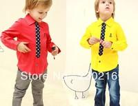 2013 boy girls Fashion red and yellow( long-sleeve t shirt ),children Brands shirt clothing,5pcs/lot.