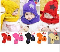 2 in 1 Free shipping winter five star children hats & scarf sets baby pocket beanie boy earflap girl skullcap retail Lc13082903