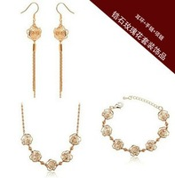 CS40 Gold hollow rose follwer Austrian Crystal Earrings necklace bracelet jewelry sets Classic  Y703-13 50D