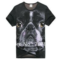 Funny Cool 3D Printing American Bulldog Short Sleeve Men's T-Shirt 20302