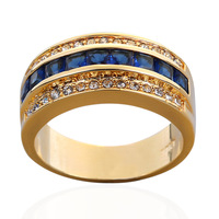 Men Jewelry Semi-round Blue Sapphire CZ Crystal Stone 10kt Stamped Yellow Gold Filled/Plated Band Ring