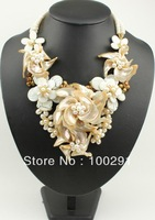 Free ship!!! Zebra shell apricot shell pearl flower necklace/earring