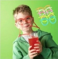 Novelty Funny Children's Glasses Art Straws items Amazing Silly multi-color Glasses Drinking Straw Eyeglass Frames Free Shipping
