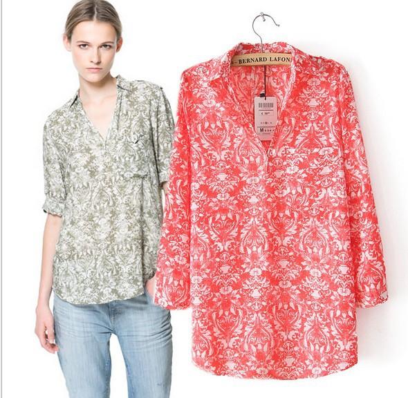 2013-autumn-New-fashion-womens-Vintage-Totem-print-Chiffon-blouse ...
