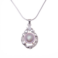 Silver plated White AAA Freshwater pearl   pendant with Necklace