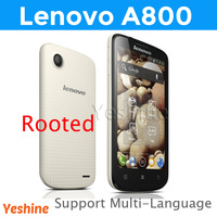 Cheap Lenovo A800 mobile phone  MTK6577 Dual core 1.2GHz 4.5inch 854*480 Screen 512MB+4G 5.0MP SingleCam support Multi-Language