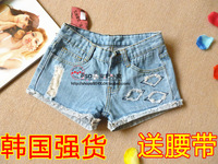 Denim shorts patch flash distrressed torn edge denim skinny low-waist pants