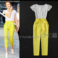 2013 women's fashion ruffle chiffon lacing linen one-piece jumpsuit female