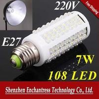 FreeShipping 6Pcs/Lot Energy E27  108 LED Screw Corn Light Bulb 7W Warm white/Cool white led lighting AC 220-240V