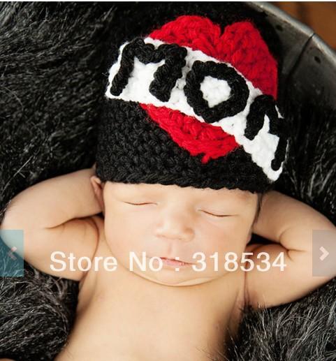 Newborn Toddler crochet hat Mom Tattoo hat winter caps baby girls animal cartoon hat(China (Mainland))
