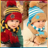 2013 new fashion women knitted baby hat star striped scarves ear piece suit children warm hat scarf piece suit free shipping