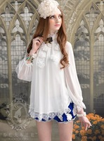 2013 white chiffon flower lace long-sleeve Women's Blouses Cute Princess Lady Shirt three Quarter Sleeves Free Shipping