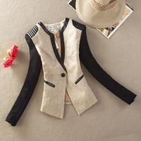 2013 autumn blazer women's slim outerwear color block decoration suit the trend of female long-sleeve blazer