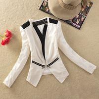 2013 autumn women's elegant V-neck patchwork slim female suit short blazer jacket female