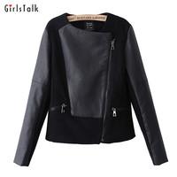 2013 autumn fashion slim coat patchwork leather clothing female short design PU long-sleeve jacket motorcycle jacket female