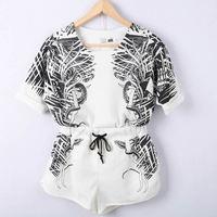 2013 female fashion vintage print short-sleeve T-shirt top shorts casual twinset