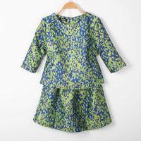 Fashion autumn small vintage fashion print color block half sleeve top bust skirt ladies set