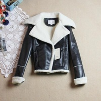 Classic lamb cotton suede fabric thermal paragraph in the motorcycle women's wadded jacket thick outerwear