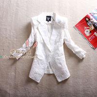 Blazer slim sweet lace women's outerwear white suit casual