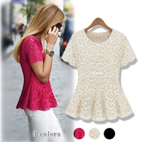 2013 summer women's ab918 fashion sweet slim ruffle sweep lace short-sleeve shirt top