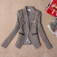 2013 autumn women's elegant badge slim fashion houndstooth blazer suit