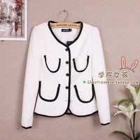 2013 autumn women outerwear vintage puff sleeve slim medium-long brief all-match female suit