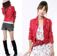 2013 spring and autumn women's 103119 red short jacket red short leather clothing red