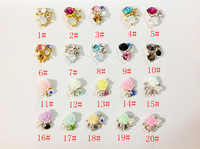 Free Shipping 2013 Nail Art 3D Rose Pearl Decoration 100Pcs Mixed Styles DIY Nail Jewelry Alloy Rhinestone Nail Decoration