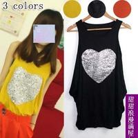 2013 summer women's 455288 love loose paillette sleeveless vest one-piece dress