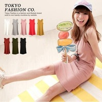 2013 summer women's hot-selling 46813 all-match solid color cotton tank dress basic skirt