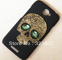 Handmade Goth Steampunk Style Dull Polish Matting Black Hard Shell Case Cover For HTC One S with Gold Skull