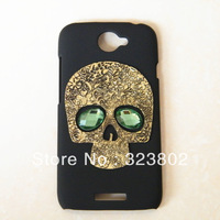 Handmade Goth Steampunk Style Dull Polish Matting Black or White Hard Shell Case Cover For HTC Evo 4G Lte with Gold Skull